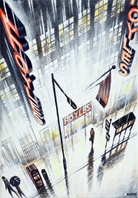 Rain - Foyles  Oil  21 x 15 cm  £495
