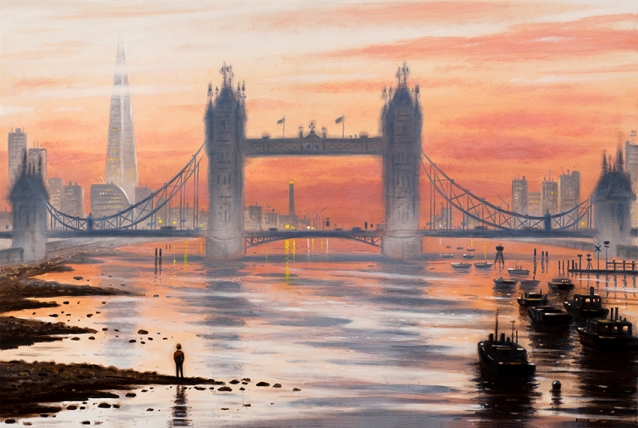 Tower Bridge Dawn  Oil  51 x 76 cm  £1995