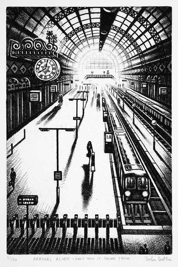 Arrival Alone - King's Cross St Pancras Station   etching   38 x 25 cm  £295 (framed)  £195 (unframed)