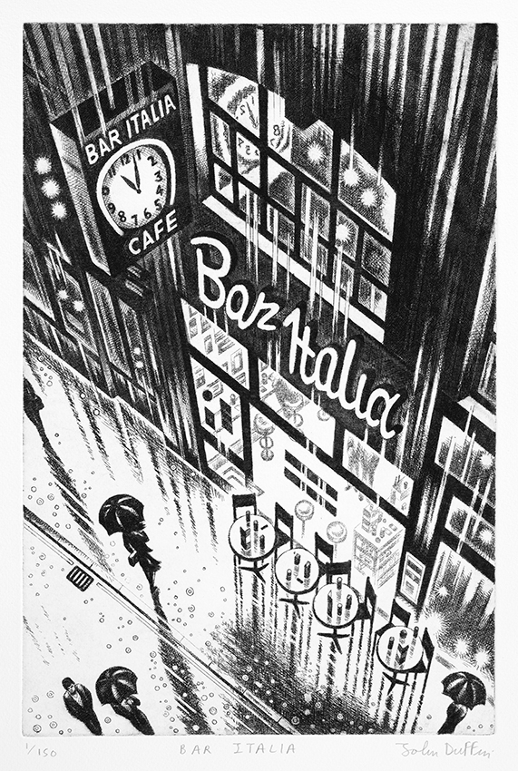 Bar Italia   etching   38 x 25 cm  £295 (framed)  £195 (unframed)