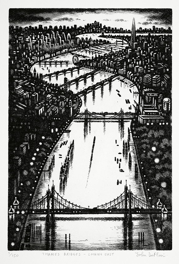 Thames Bridges - Looking East   etching   38 x 25 cm  £295 (framed)  £195 (unframed)