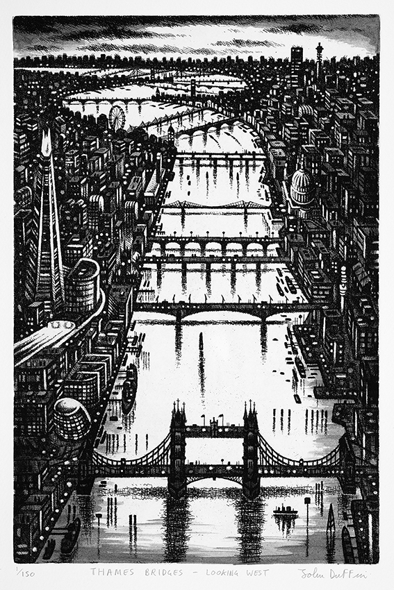 Thames Bridges - Looking West   etching   38 x 25cm  £295 (framed)  £195 (unframed)