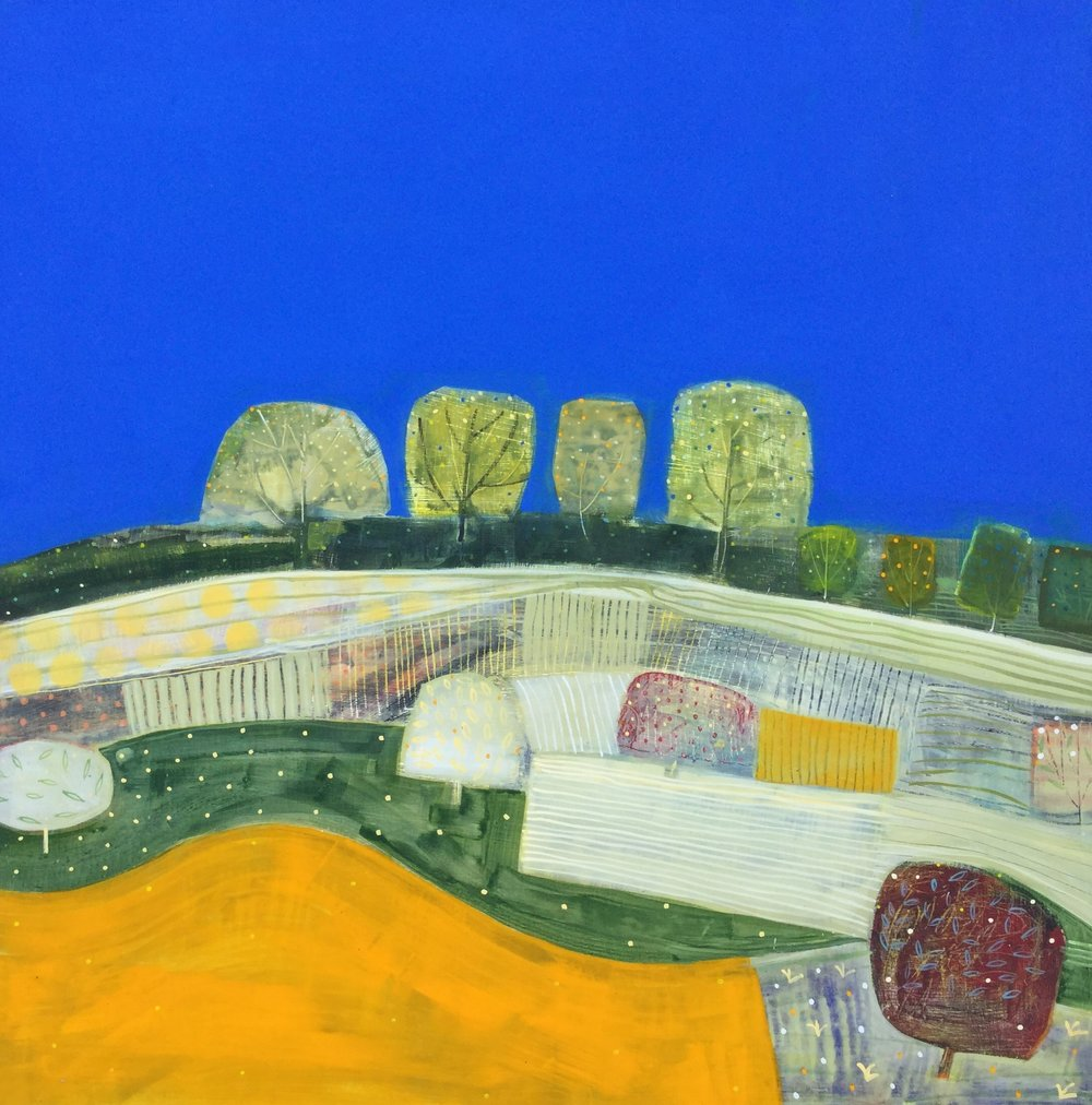 Patchwork Fields in July  acrylic on board  70x70cm  £1,400