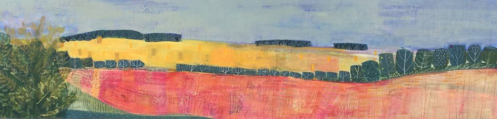 Harvest in The Yorkshire Wolds  acrylic on board  39x130cm  sold