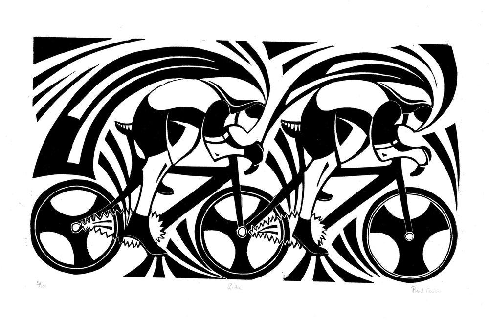 Ride   linocut   49cm x 26cm  £140