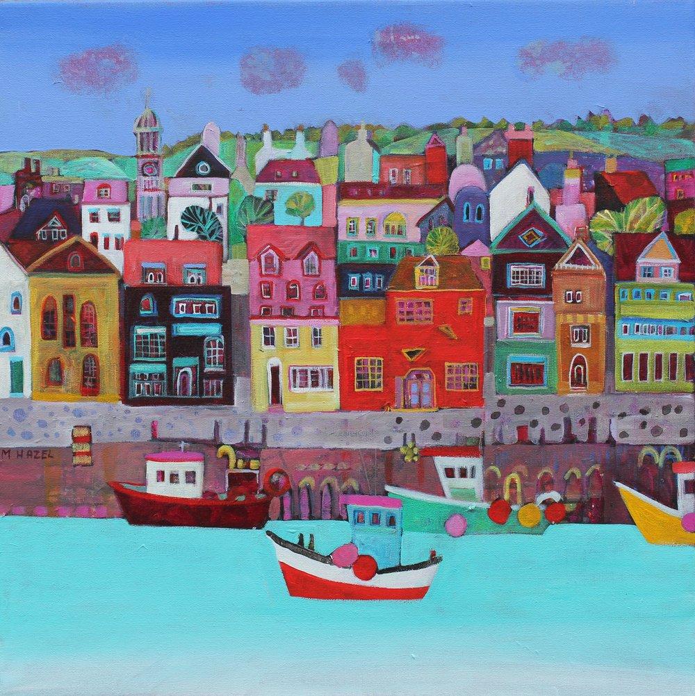 Harbourside  Acrylic on canvas  50 x 50cm