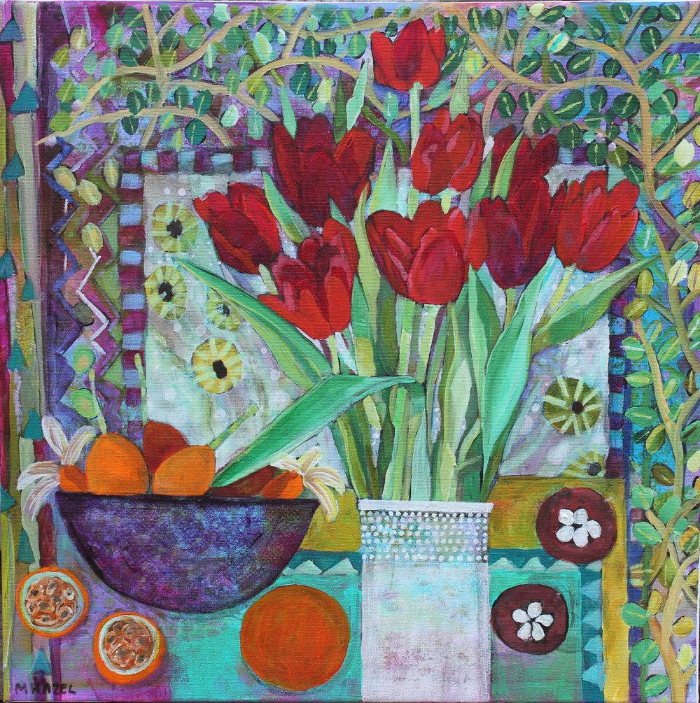 Linda's Tulips  Acrylic on canvas  50 x 50cm