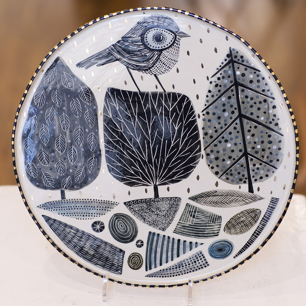 Platter with Landscape and Bird Lustre  33 x 33cm  sold