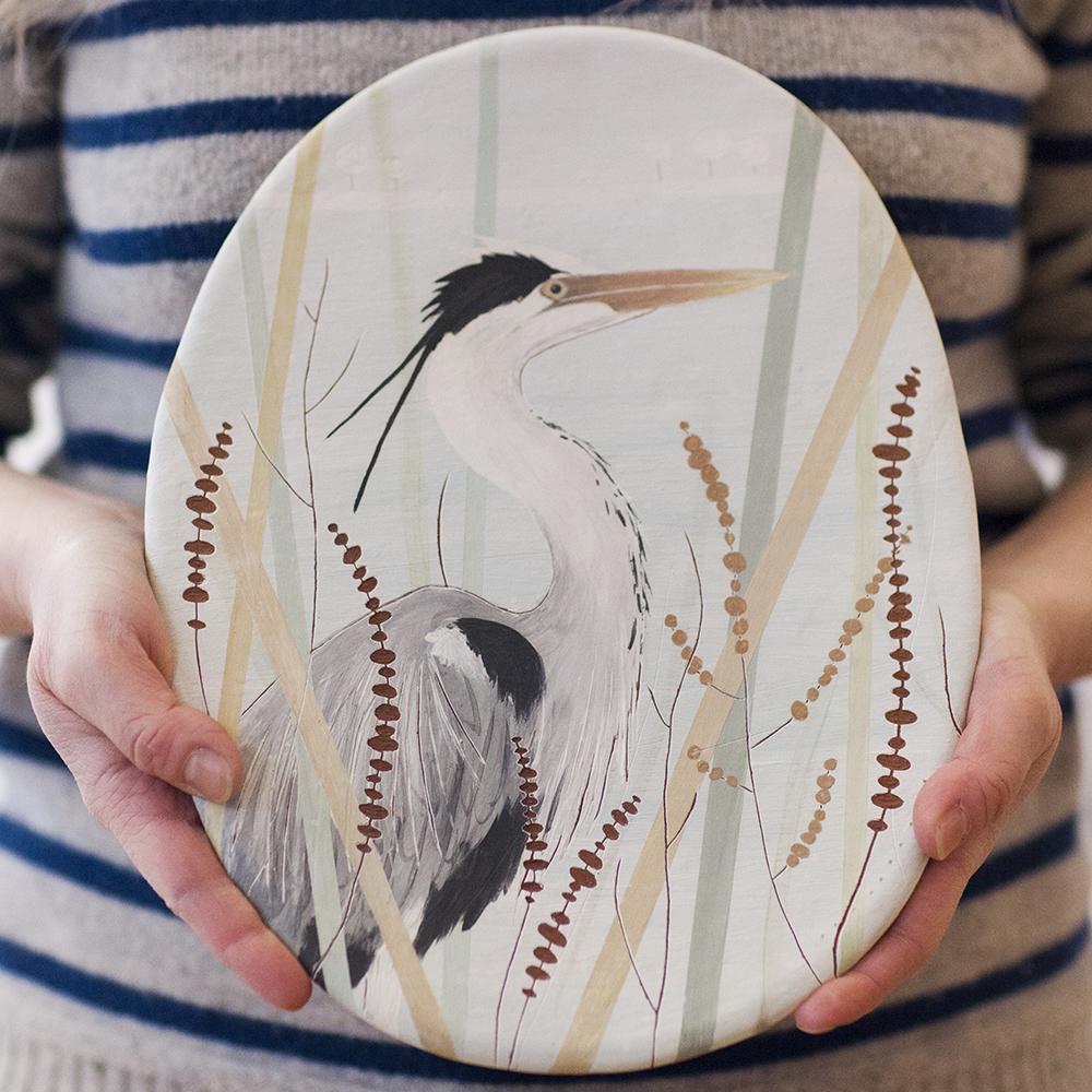 Grey Heron  ceramic  29x23cm  £140