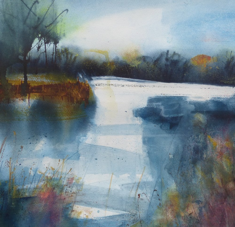 Fenland Waterway  mixed media  56 x 56cm  £495 framed
