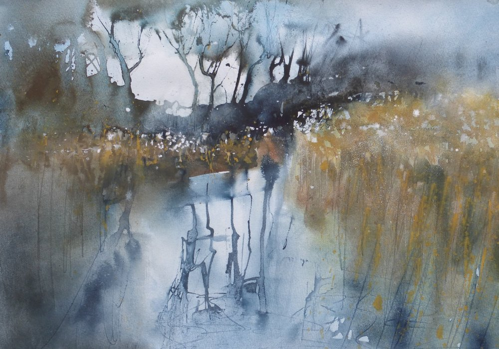 Reeds & Reflections  watercolour  55 x 69cm  SOLD