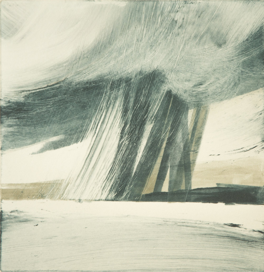 A Perfect Downpour   Monotype , Unique  145mm x 145mm (image only)  £250