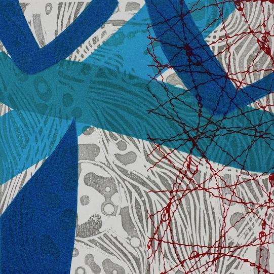 Summoning Hygieia  etched lino and silkscreen  15x15cm  £195 framed £155 unframed