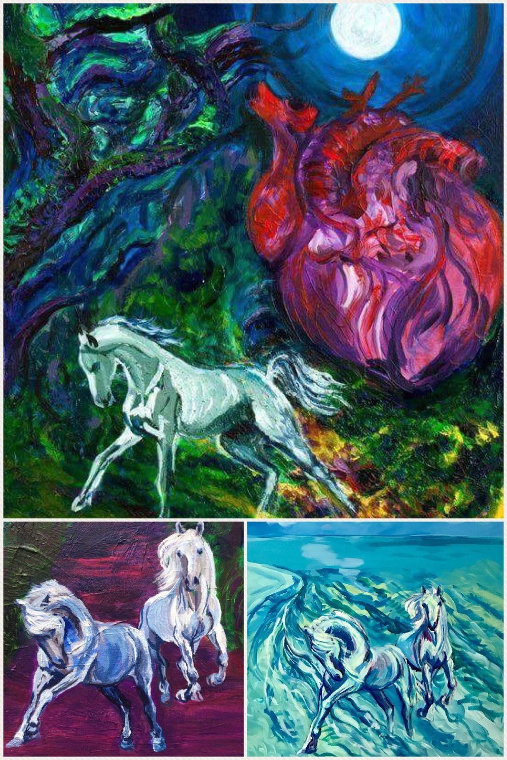 'Messenger Of Heart And Moon' (top). White Horse Messengers Returning' (left). 'Kicking Our Heels Up' (right)