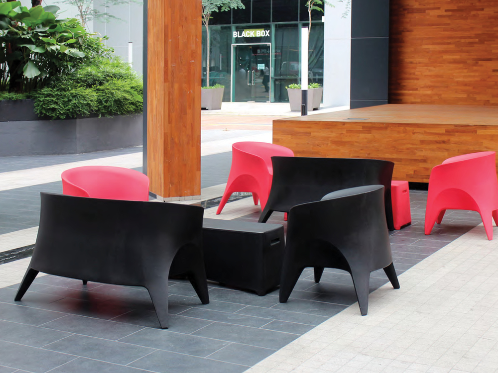 The Obie Love-Seat and Obie Char paired with the Rumble Bench