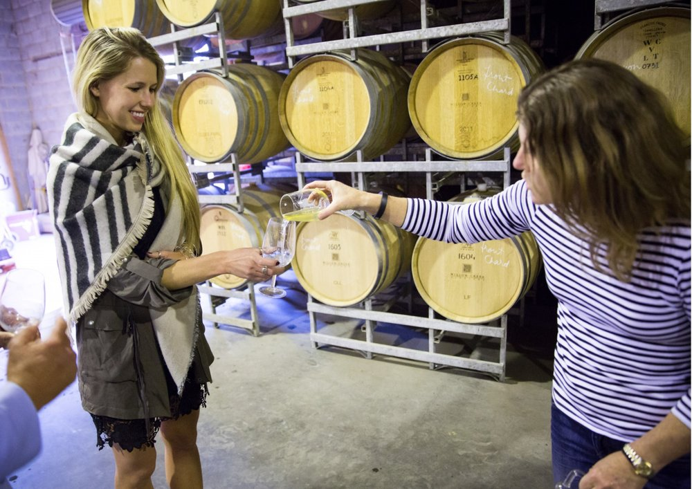 A private tasting with Willow Creek Vineyard winemaker, geraldine McFaul in her barrel room.  Geraldine is married to Plunge Tour Guide, Arthur O'Bryan