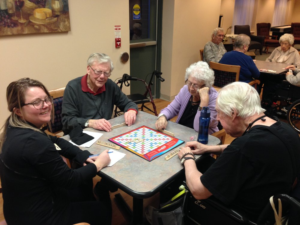 Champlain Residents Playing Scrabble