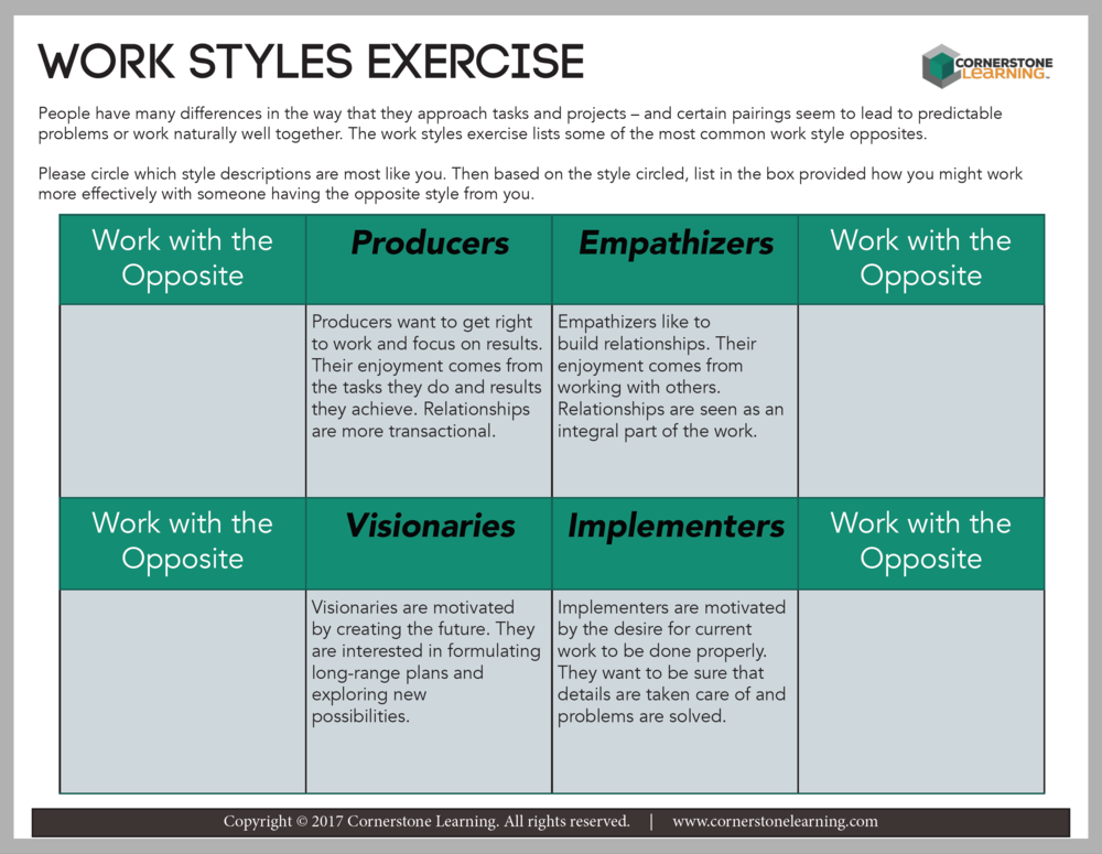 Work Styles Exercise