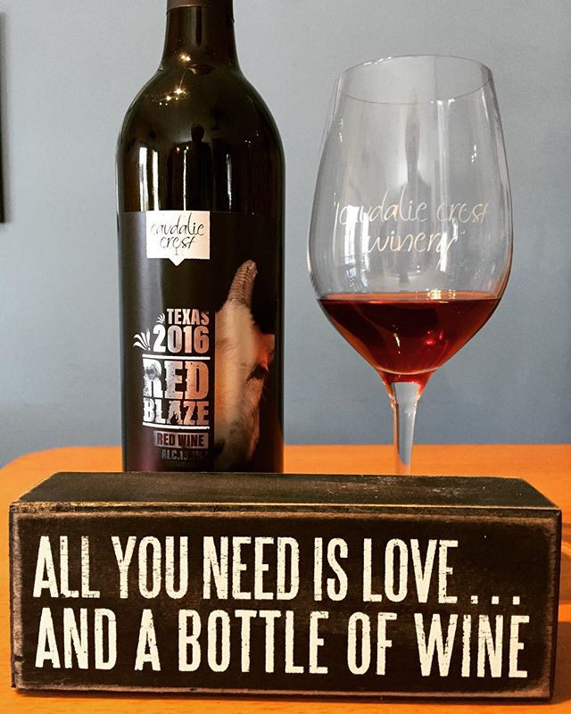 """""""All you need is love and a bottle of wine"""" or two or three!  Make sure you don't run out and are ready for summer guests.  Come on out and pick which wines are your favorite to share!🍷#texas #texasmade #texaswinery #texaswine #celebratesummerintexas #texasfarm"""