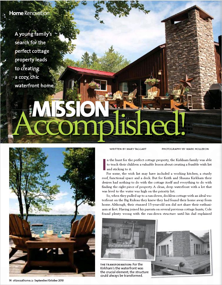 """Mission Accomplished! : Home Renovations"" Pages 16–17 Ottawa at Home Magazine, August 2010"