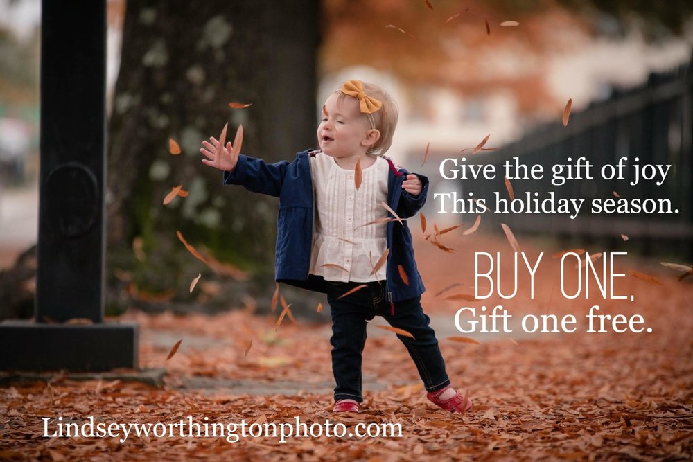 Buy one, get one! Today 11/23-Sunday 11/26, buy one regularly priced family session at $350 and receive an additional $125 studio session credit, a gift for a family member, new mom, or your best friends...or keep it for yourself, I won't tell! I only have TEN of these session available for purchase. Session credit has no cash value and may not be traded for other products. Credit expires in December 2018 and must be used. Offers excludes seasonal mini photoshoots or current offers. Sessions will be booked until Sunday 11/26 and all sessions must be paid for in whole. No holds!