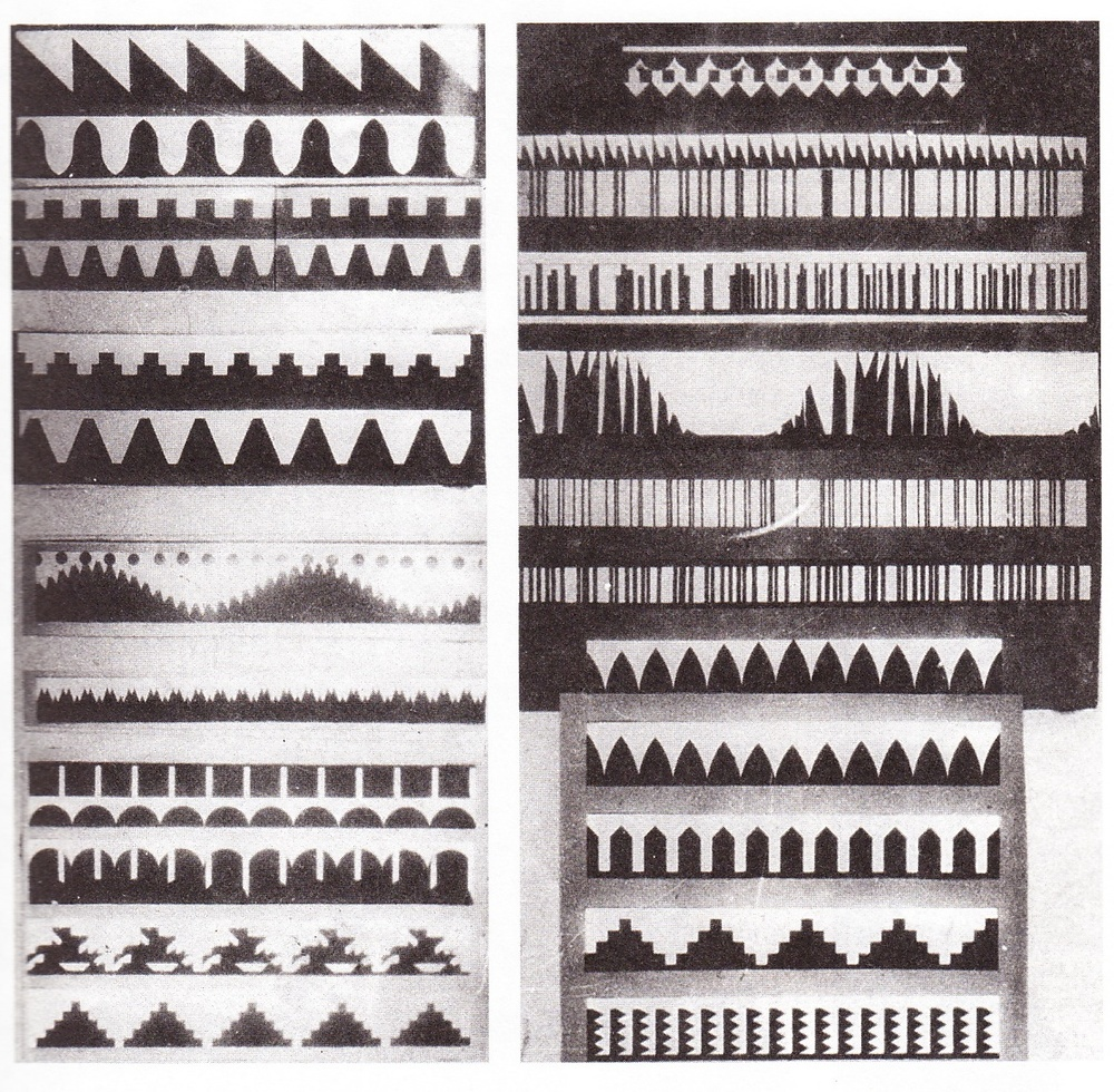 "Arseny Avraamov's ""Ornamental Sound Animation"", patterns that would be used as the basis for sound production"