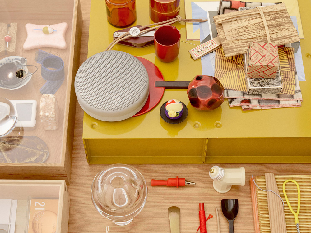 Beoplay A1 at home among all the other beautiful objects in Manz's studio.