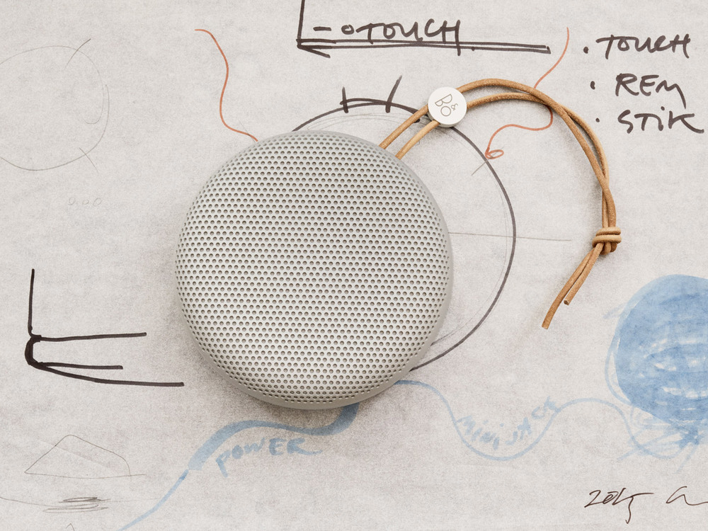 Before and after: Beoplay A1 in situ with Manz's preparatory sketches