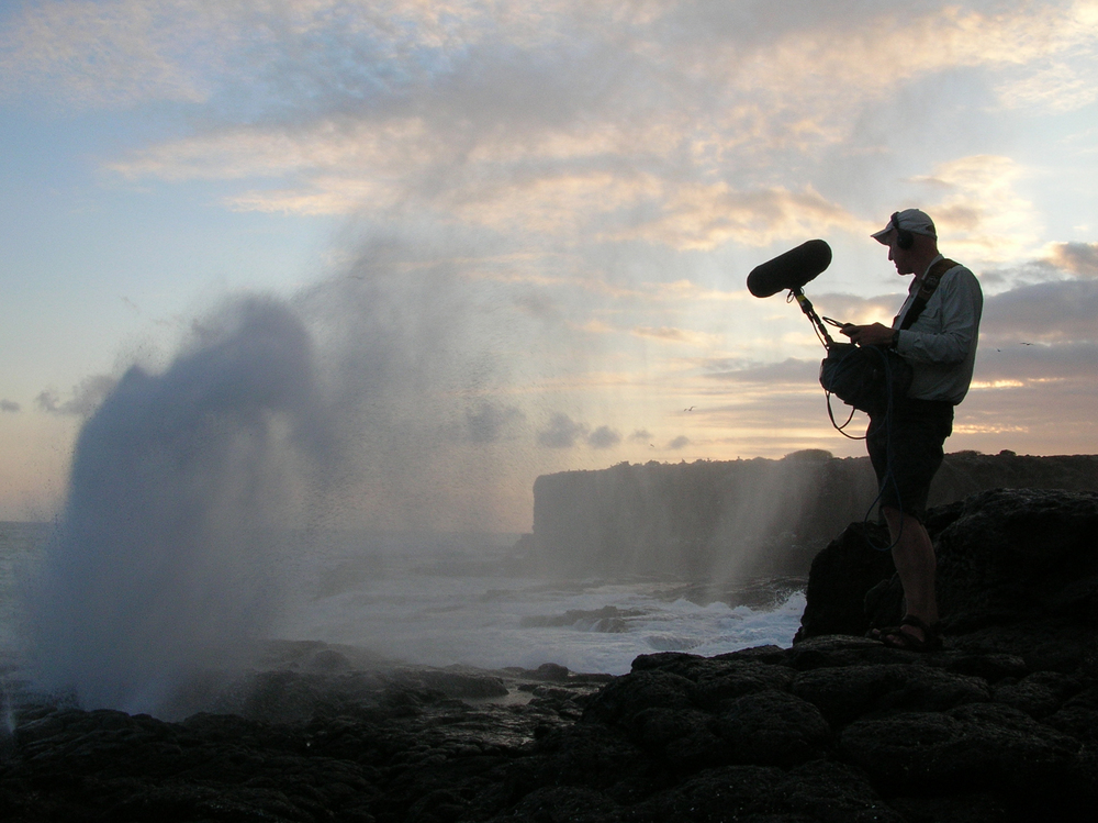 Diamond geyser: Watson on assignment recording the sounds of an erupting geyser.