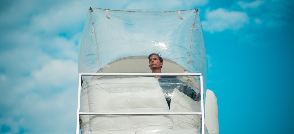 "Blue sky thinking: artist and architect Alex Schweder testing out his ""The Hotel Rehearsal"" installation at the A/D/O design space in Brooklyn."