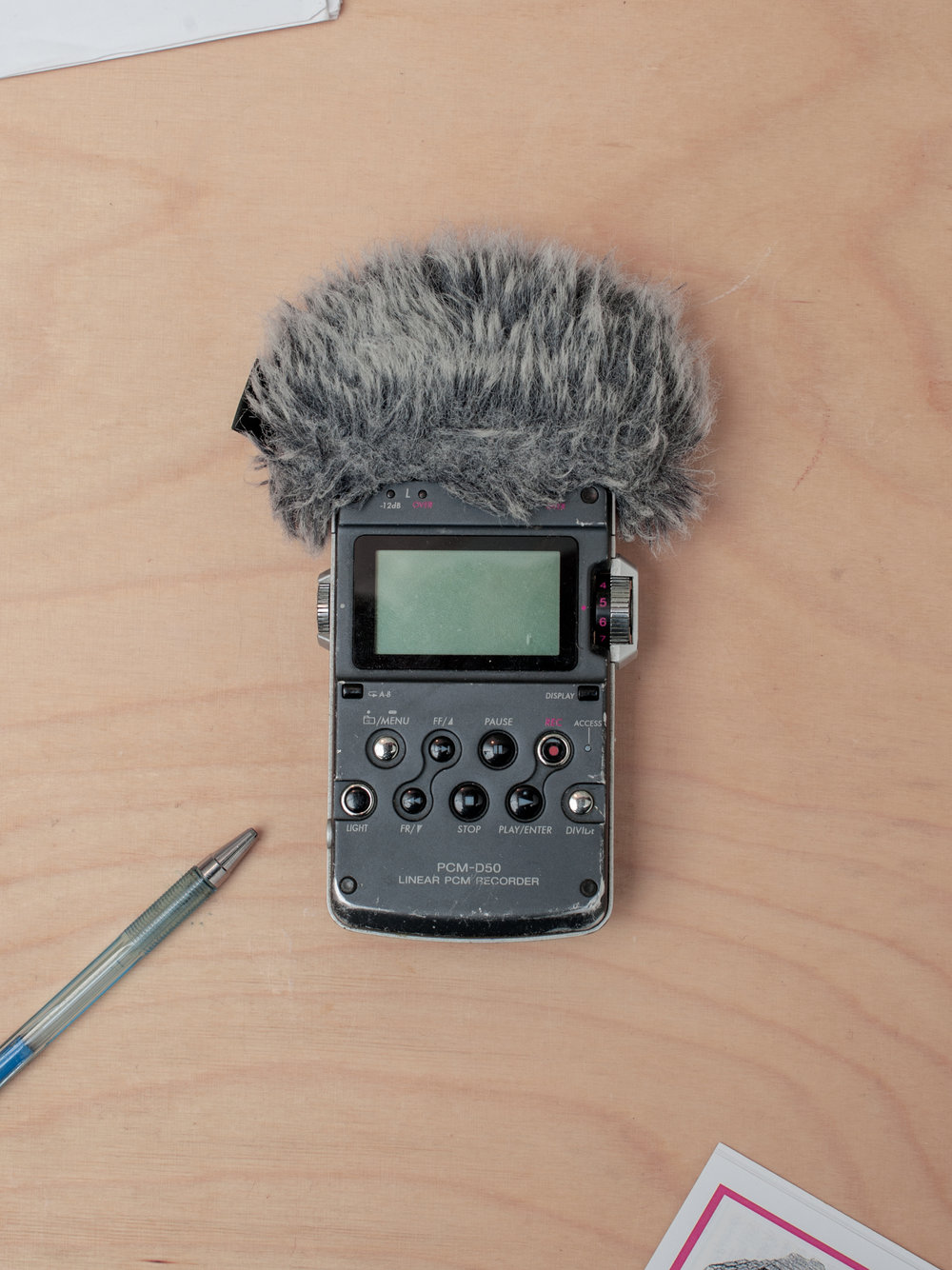 Tools of the trade: Hinman's trusty and well-worn portable recorder, for those hard to find sounds.