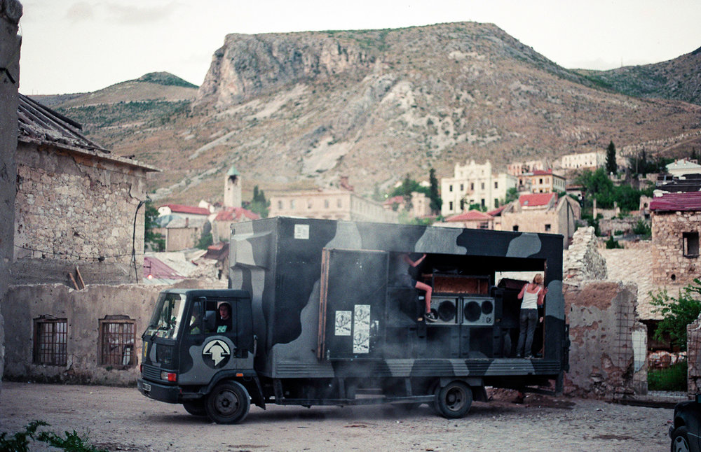The Desert Storm sound system in Bosnia. Photo: Adrian Fisk