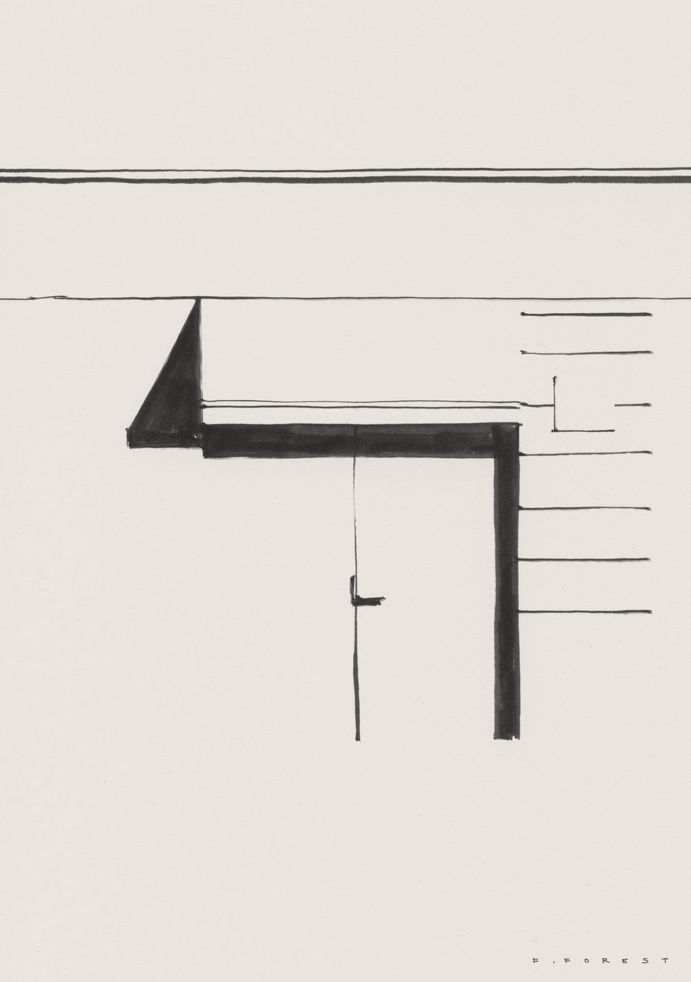 "Frédéric Forest's drawing of the Milan Bang & Olufsen store, Corso Garibaldi 2, 17–21 April, where there will be an exhibition, ""Sound As Interior"" launching a new Cecilie Manz-designed product."