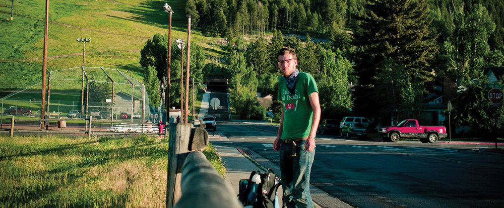 Podcaster and photographer Jeff Emtman on the road looking for stories, in Wyoming.