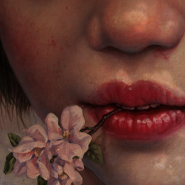 Here's a little cropped detail of one of oil paintings I'm working on currently.  Cannot wait for apple blossoms in my part of the world.