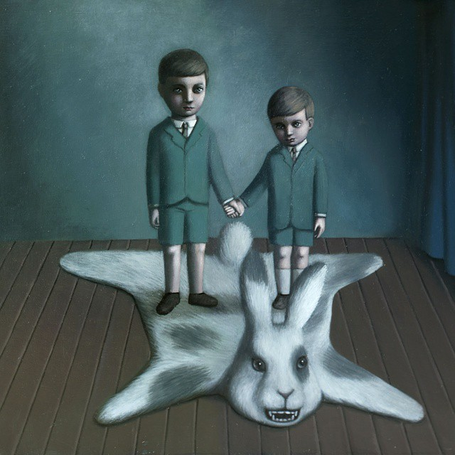 Here's 'Lucky Hunt of Johnson Brothers' from over 10 years ago on this special weekend. Painting about how one kills their own imaginary childhood beasts in order to grow up. Sometimes I'm rather sure though that some of mine are livelier now than ever..