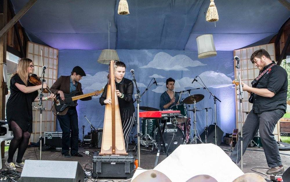 Performing at Tiny Lights Festival, Ymir, BC. Photo by Mary Matheson.