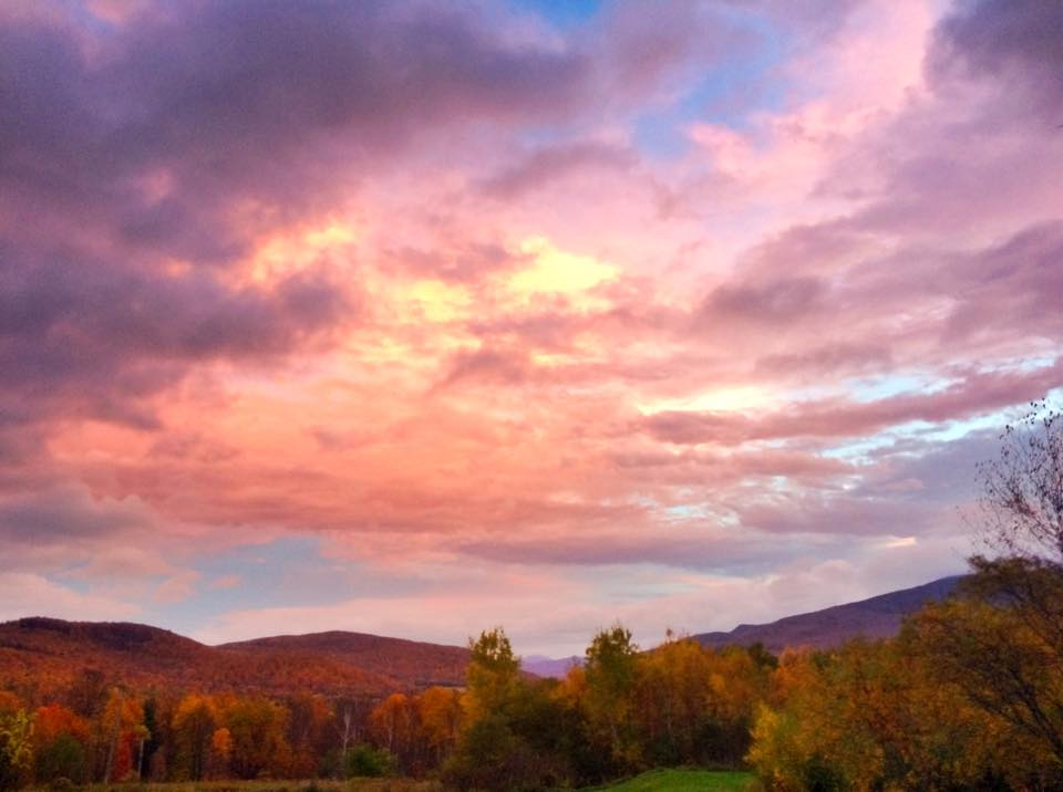 The skies over Camel's Hump Mountain, from Vermont Bed and Breakfast at Russell Young Farm