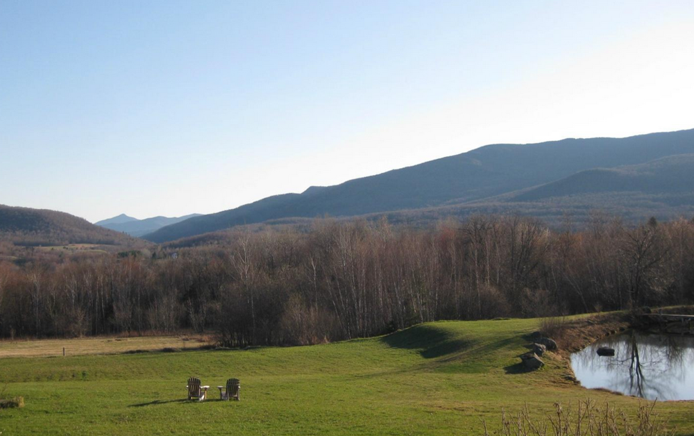 The view of the Green Mountains from the front porch of our Vermont Bed and Breakfast