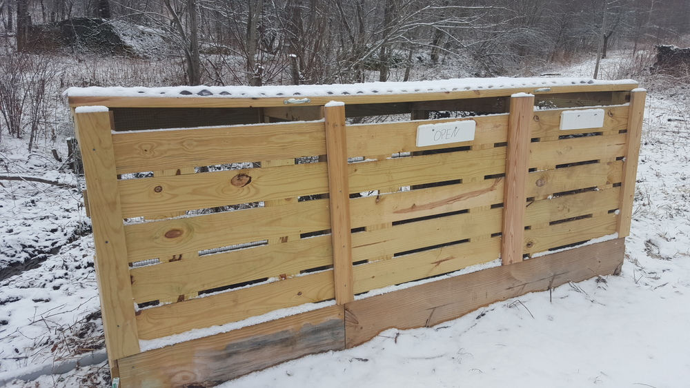 "Our compost bins includes 3 compartments, which show ""No vacancy"" when they fill up!"