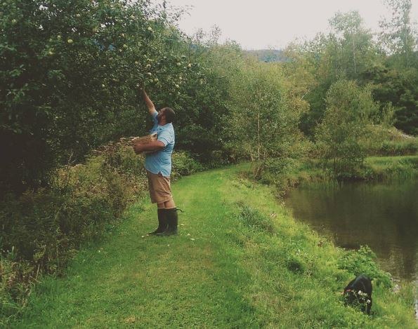 Luke and Stout, picking apples along the dam.