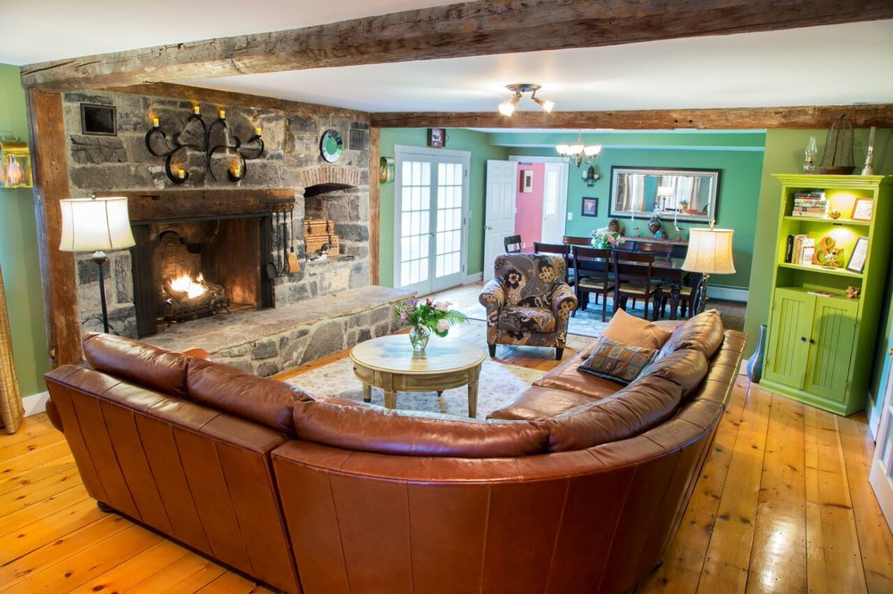 The hearth in the Great Room, at Vermont Bed and Breakfast at Russell Young Farm.