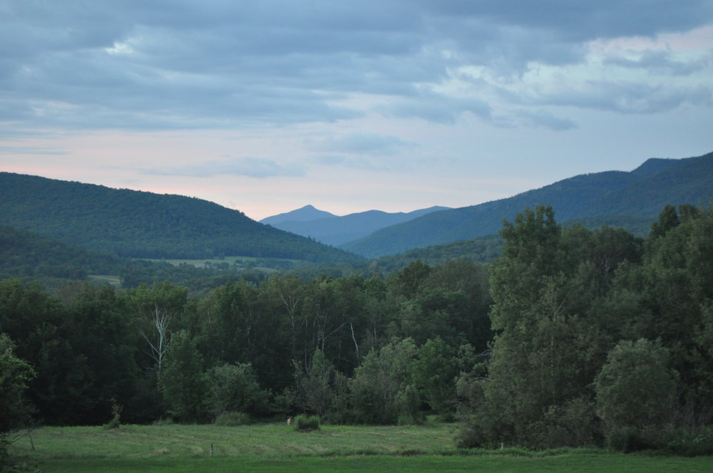 The view of Camel's Hump mountain, to the north, from Vermont Bed and Breakfast at Russell Young Farm. (Notice the deer at the center of the field, by the stand of trees and shrubs.)