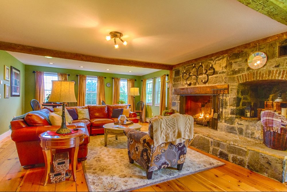 Get cozy by the fire at Vermont Bed and Breakfast at Russell Young Farm