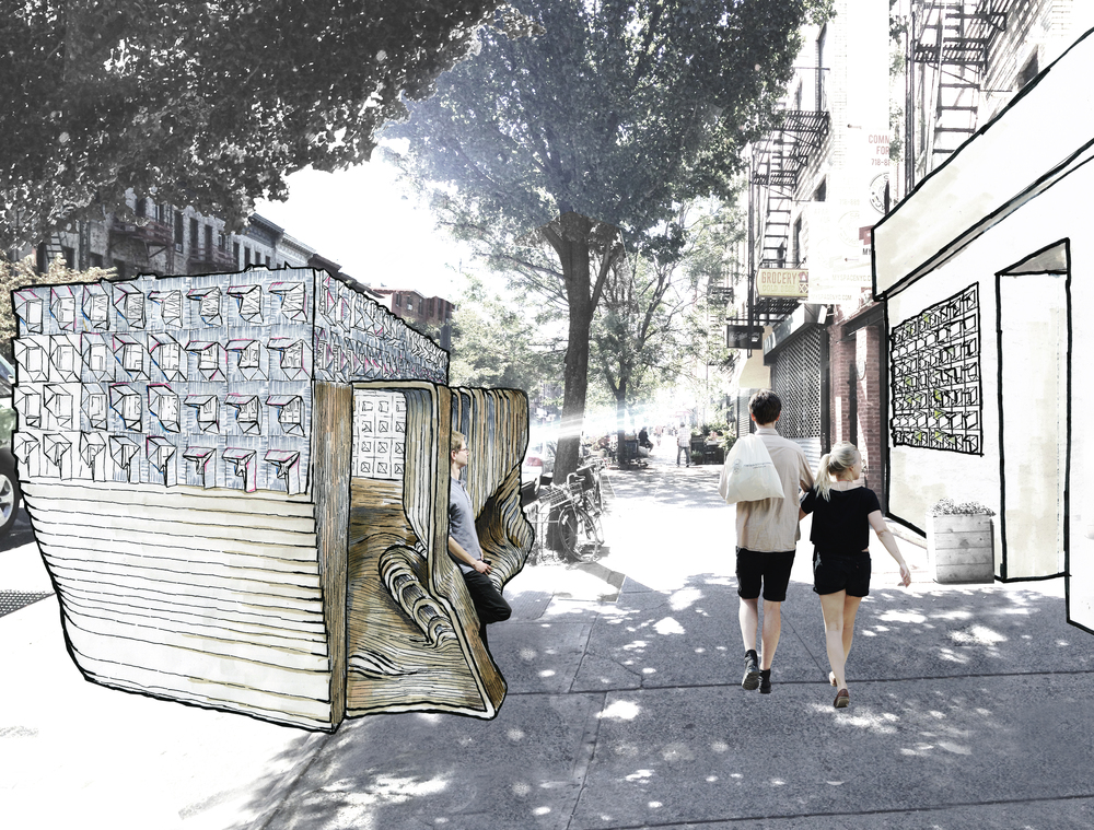 Street View:  The parklet is composed of two parts: the top portion is the responsive membrane, made of solar film, that responds to climate conditions to promote and ideal interior condition as well as harvest energy; The second is the body wall, which provides dual-sided poses for street and restorative postures.