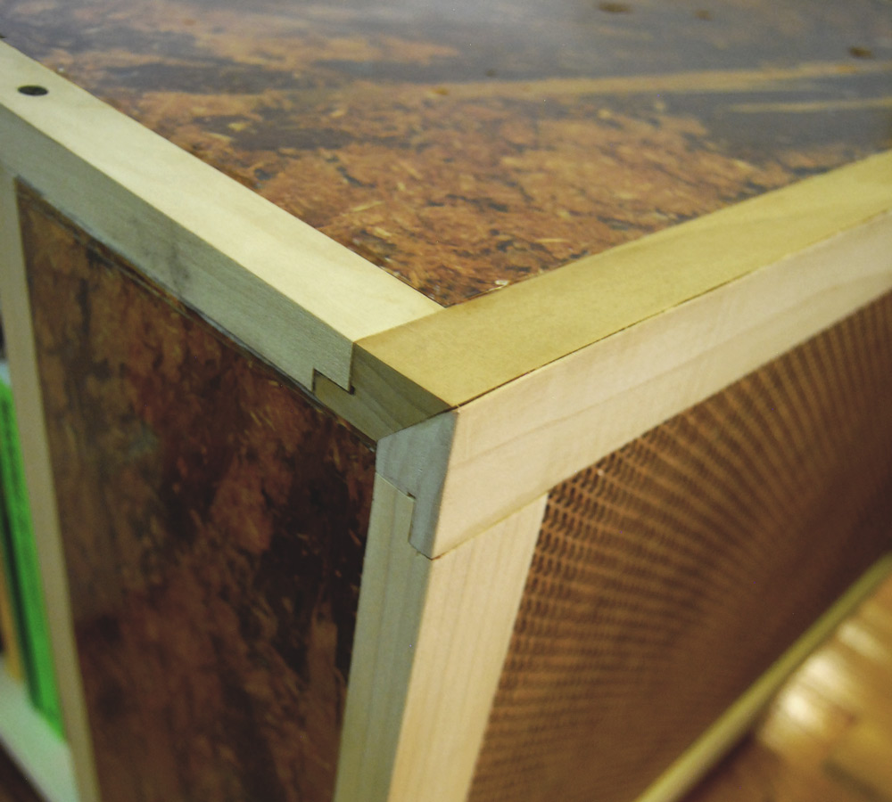 Joinery: I created and designed the joint to hold together the varying panels of the cabinet.