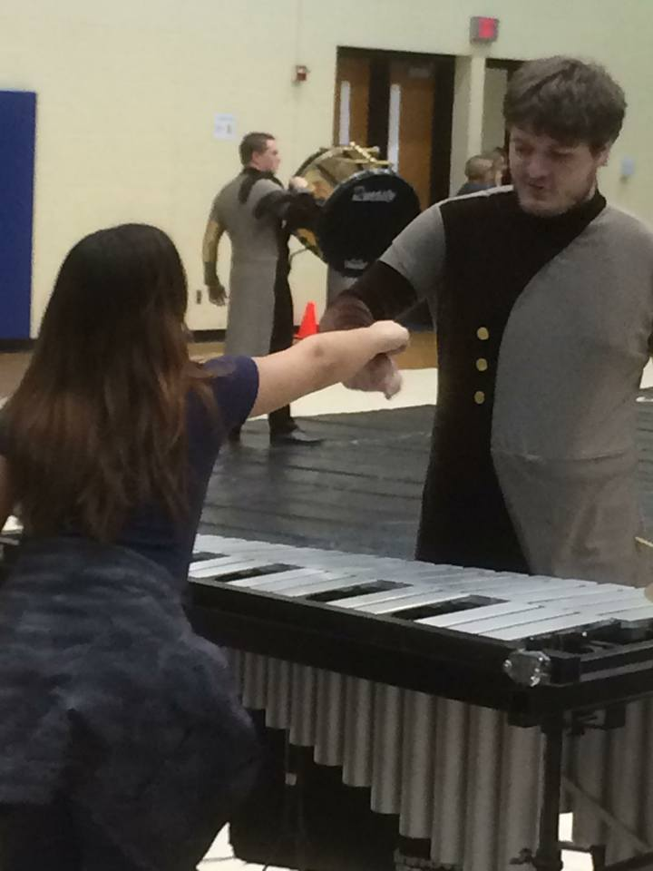 Arryn giving Jackie a fist bump before their performance!