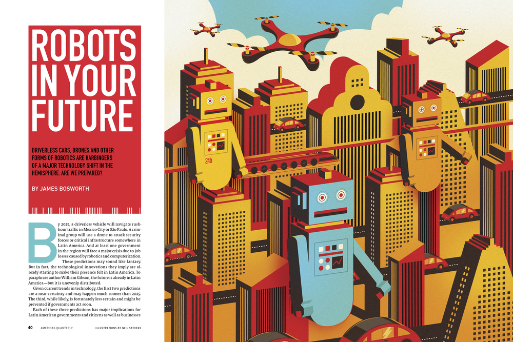 Robot Illustration, AQ Magazine