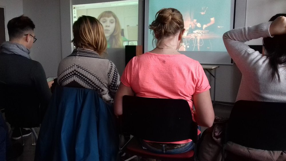 Students at an online lecture with Holly Herndon during Blended mobility course 2017.
