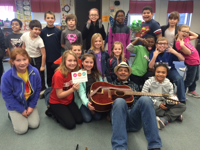 Guy Davis and students at Bellefontaine Intermediate - March 2016